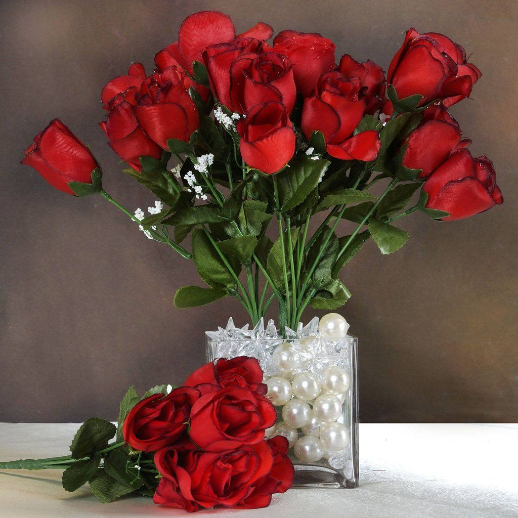 84 Artificial Silk Rose Buds Blackred Silk Red Wedding And
