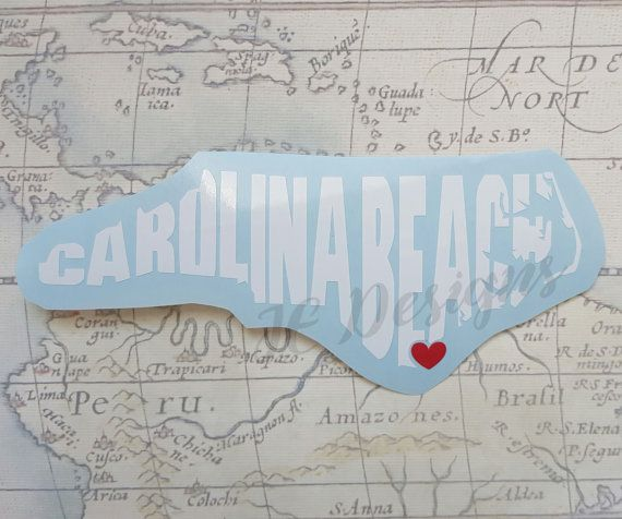 Carolina beach north carolina nc vinyl decal with by jedesignshop