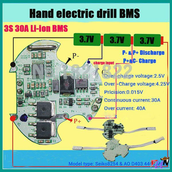 3s 30a Bms Pcm Li Ion Battery Protection Board For Electric Tools Hand Electric Drill With High Current Temperature Switch Battery Electric Hand Drill Drill