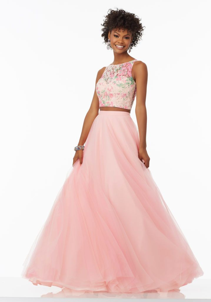 Mori Lee Prom style 99118. Two-Piece Prom Dress with Tulle Skirt ...