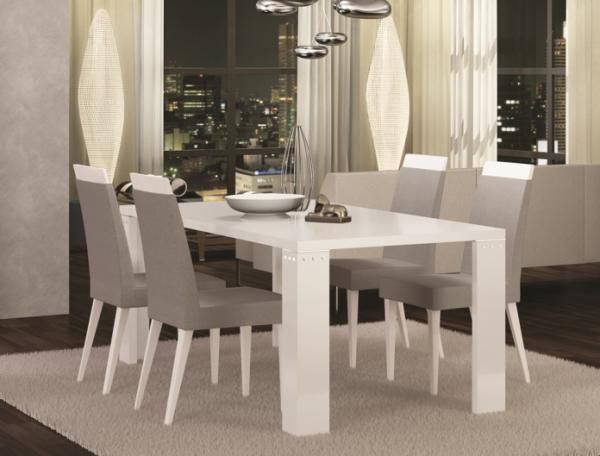 Elegance Diamond Fixed or Ext. White High Gloss Dining Table and