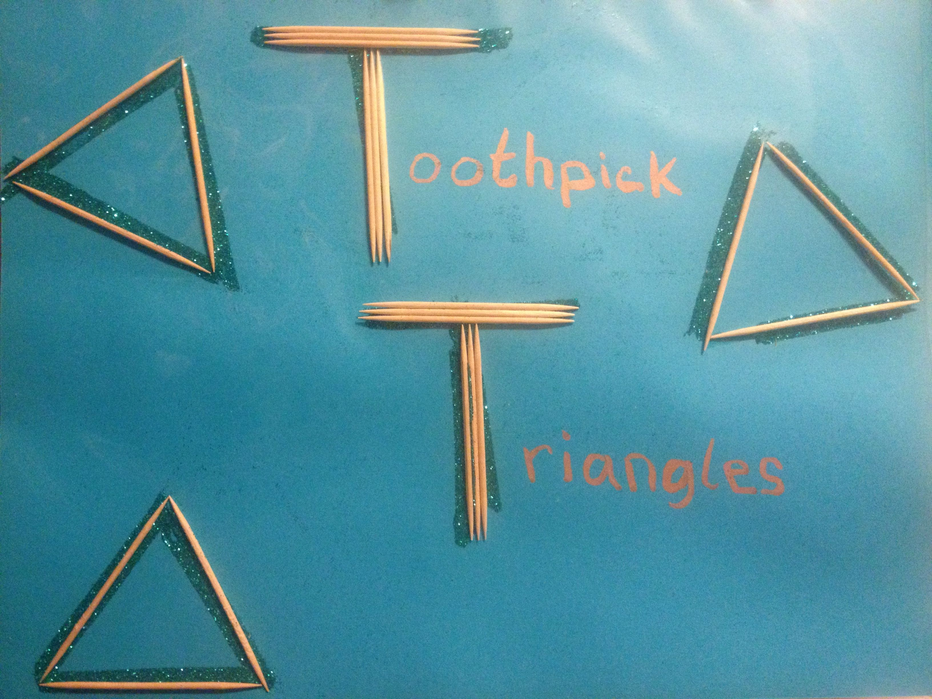 Letter T Is For Teal Toothpick Triangles