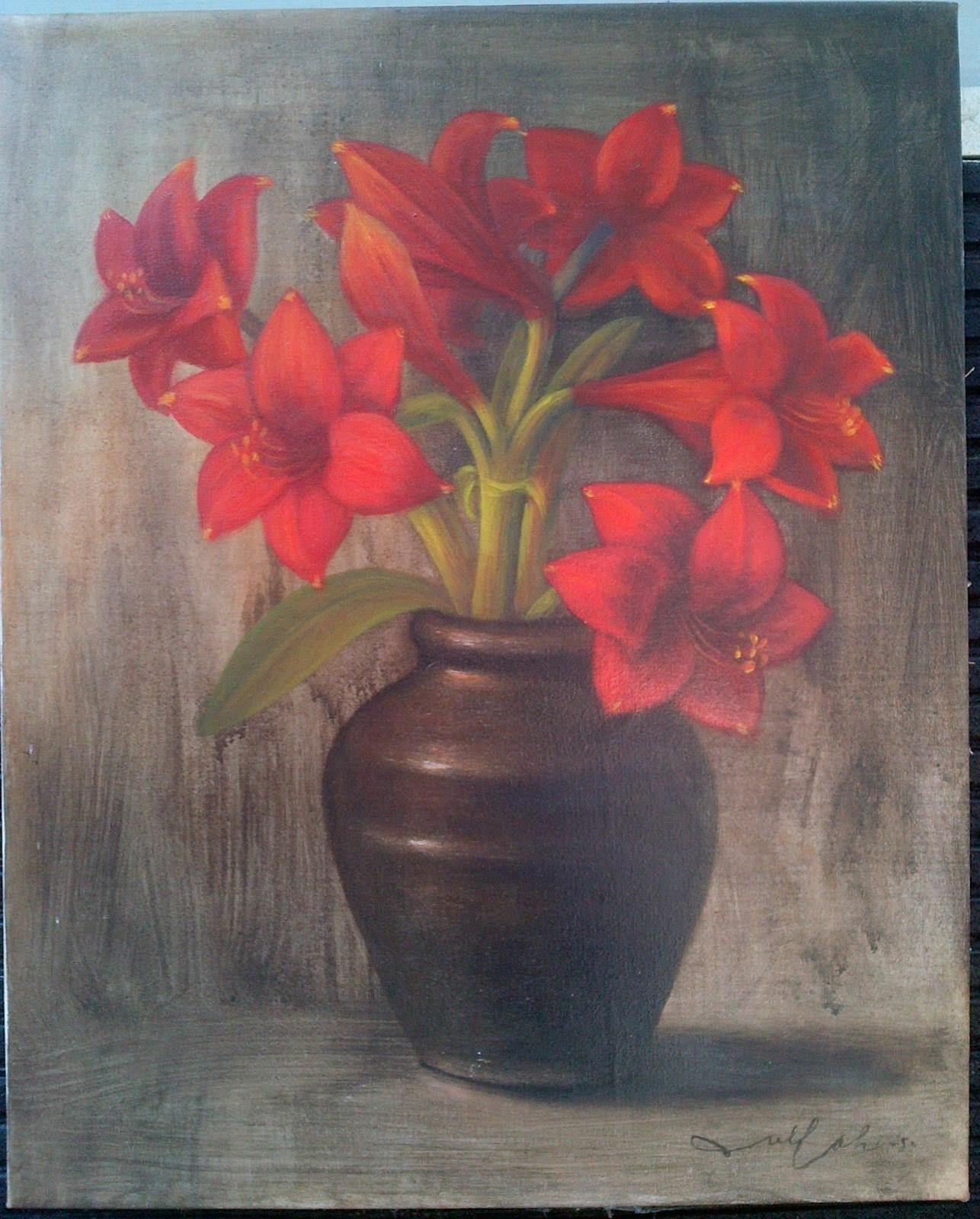 Jual Lukisan Bunga Oil On Canvas 30 70 Cm Rp 450 000 850 000 Nego 087838671118 Lukisan