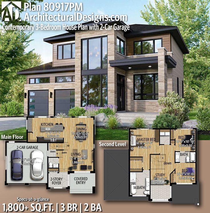 Moderne Hauspläne: Architektonische Entwürfe Moderner Hausplan 80917PM bietet Ihnen 3 Schlafz...