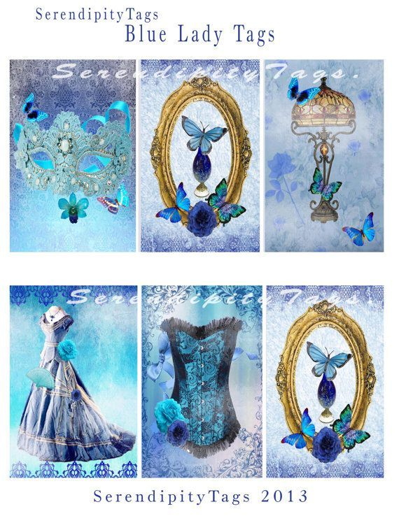 """These lovely """"Blue Lady"""" Tags have a distinct Victorian theme. Description from etsy.com. I searched for this on bing.com/images"""
