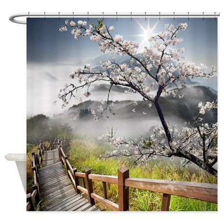 Japanese Cherry Landscape Shower Curtain by FantasyArtDesigns #homeentertainment