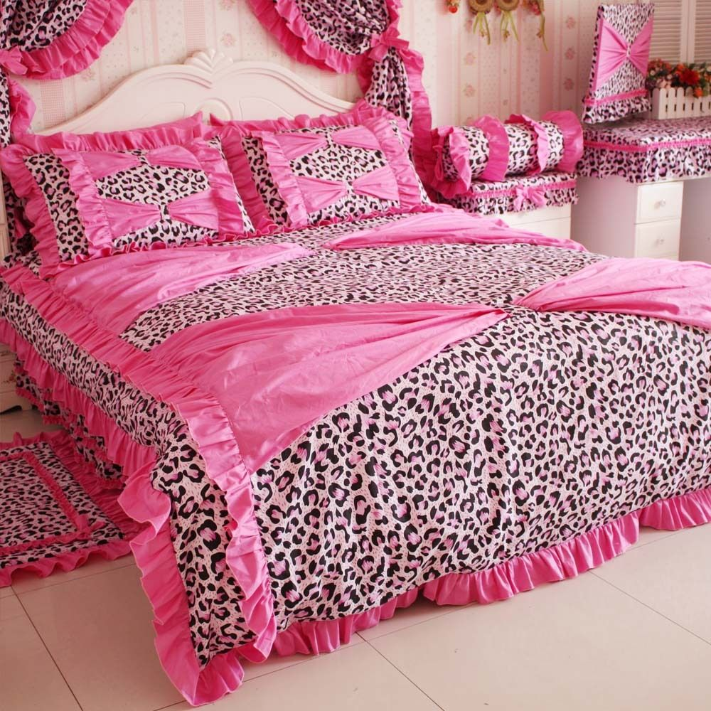 super dream leopard printed bedding set 4 piece set princess comforter bed  queen size in. super dream leopard printed bedding set 4 piece set princess