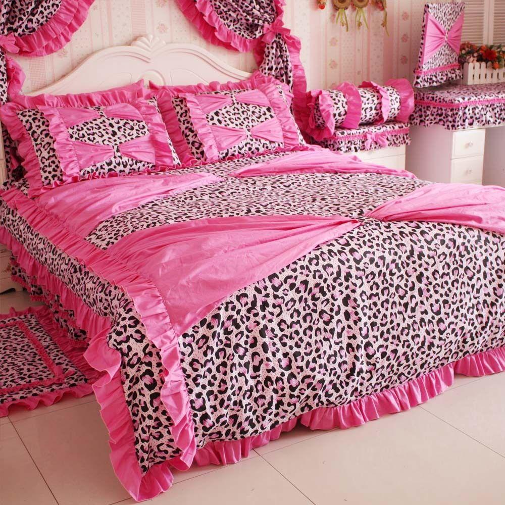 Super Dream Leopard Printed Bedding Set 4 Piece Set Princess