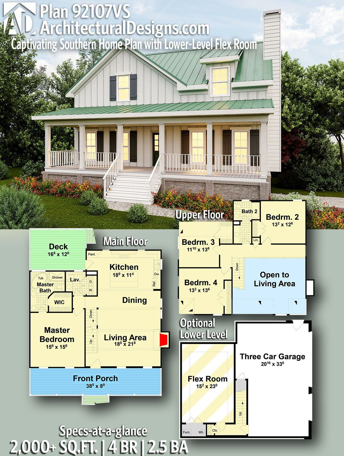 Plan 92107vs Captivating Southern Home Plan With Lower Level Flex Room Southern House Plans Vacation House Plans House Plans Farmhouse