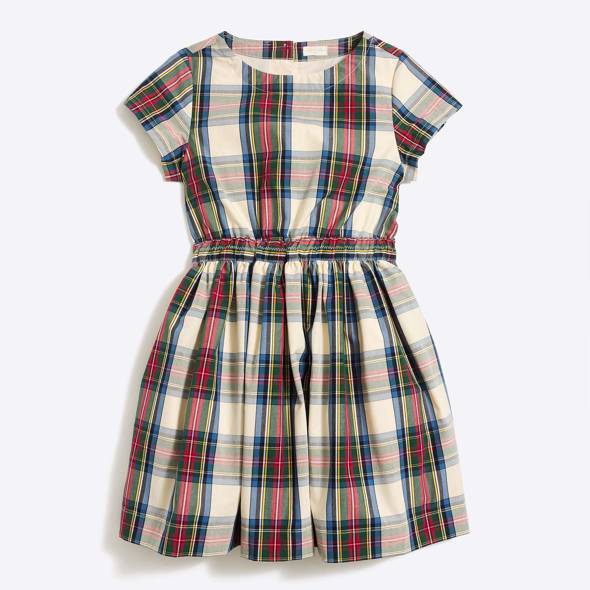 bf320e1fc Girls  short-sleeve tartan plaid dress