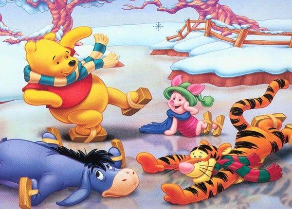 Fond d 39 ecran hiver winnie et ses amis fond d 39 ecran hiver - Winnie l ourson noel ...
