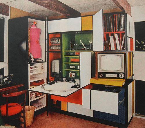 1960s Mondrian Desk Flip Down Foldout Bold Solid Color Vintage - küche retro stil