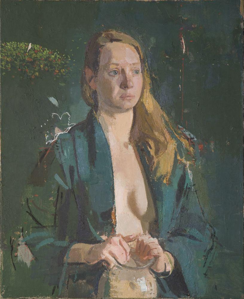sangram majumdar, girl in green, oil on linen, 32 x 26 in, 2009 (private collection)