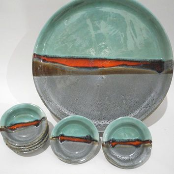 Handmade Ceramic Plates Serving Tray and Dishes Seder Plate Tapas Dishes in Teal & Handmade Ceramic Plates Serving Tray and Dishes Seder Plate Tapas ...