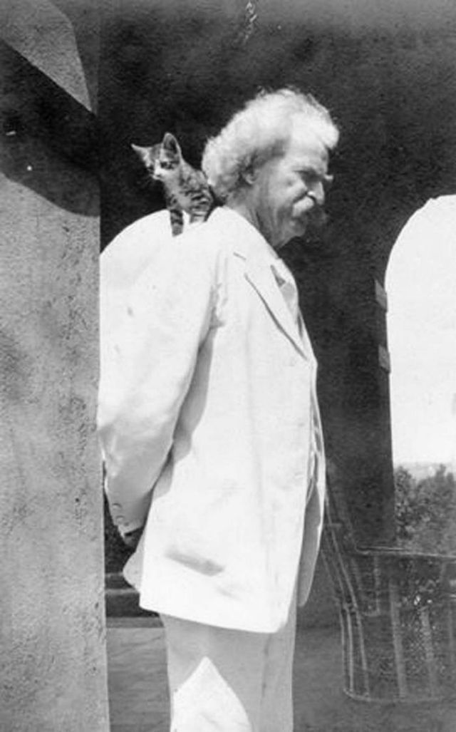 Rare Photographs of Mark Twain and His Beloved Cats From the 1900s #marktwain