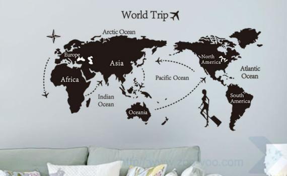 World map wall decal, world map mural wall art kids, world map wall mural, map vinyl decal,  animal #worldmapmural