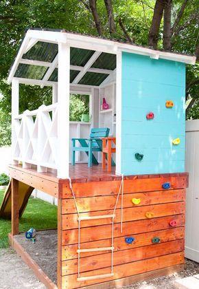 bauanleitung kinderspielhaus auf stelzen garten mit kletterwand und sandkasten backen garten. Black Bedroom Furniture Sets. Home Design Ideas