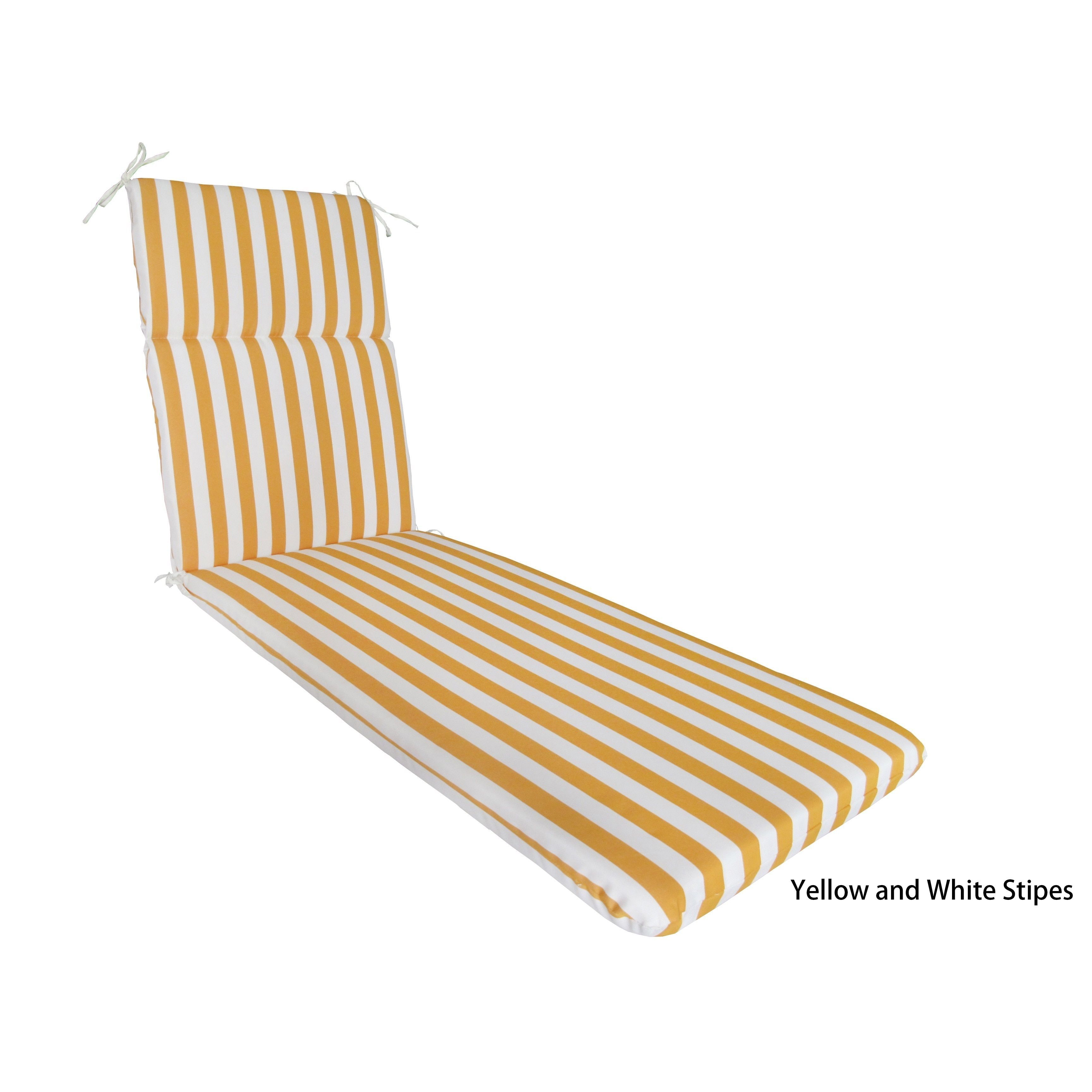 White Lounge Chair Cushions Woven Bistro Chairs Corvus Naples Outdoor Cushion Yellow And Stripes Polyester