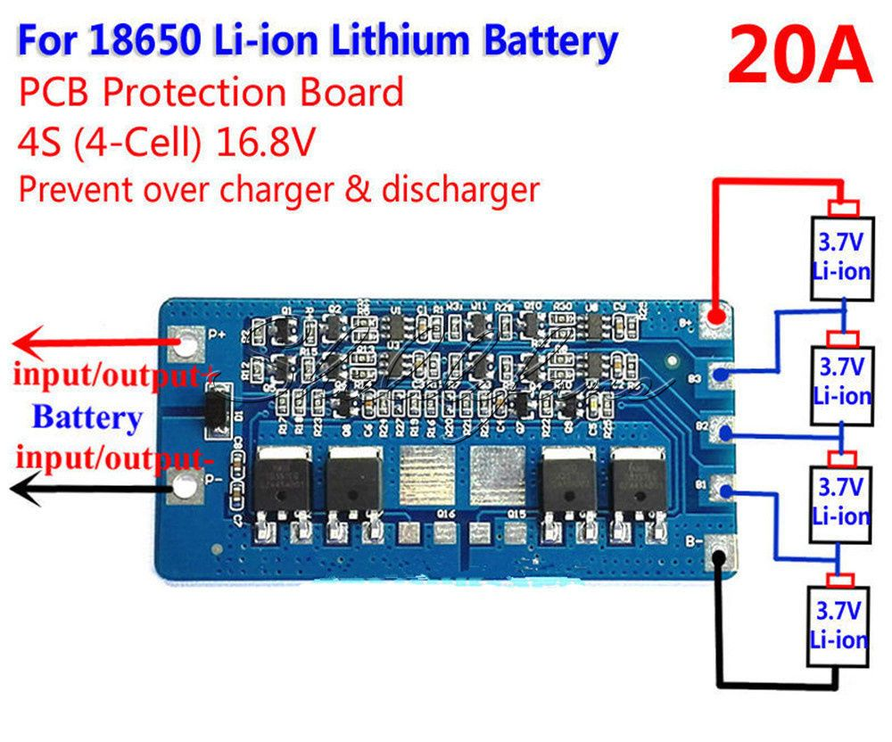 4s 20a Li Ion Lithium 18650 Battery Bms Protection Pcb Board 14 8v 16 8v Cell Battery 18650 Battery Pcb Board