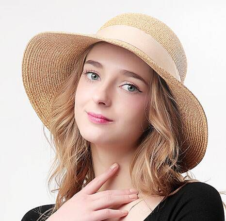 Large bow straw sun hats for women wide brim uv protection effect hats d296962629ad