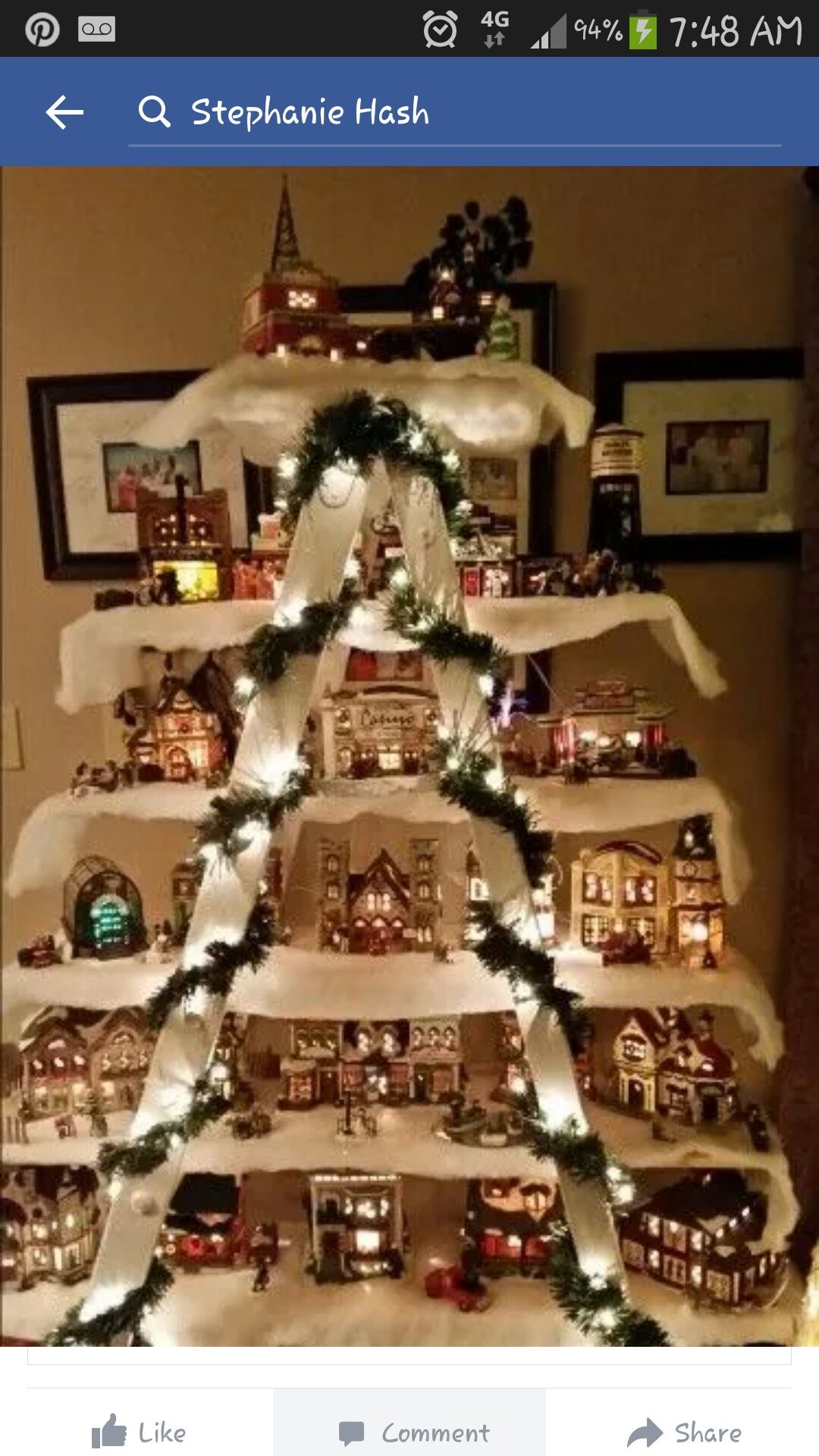 Use an Old Ladder & a few Boards to make a Christmas Village.these are the  BEST Homemade Christmas Decorating & Craft ideas! Well Dad technically did  it, ...