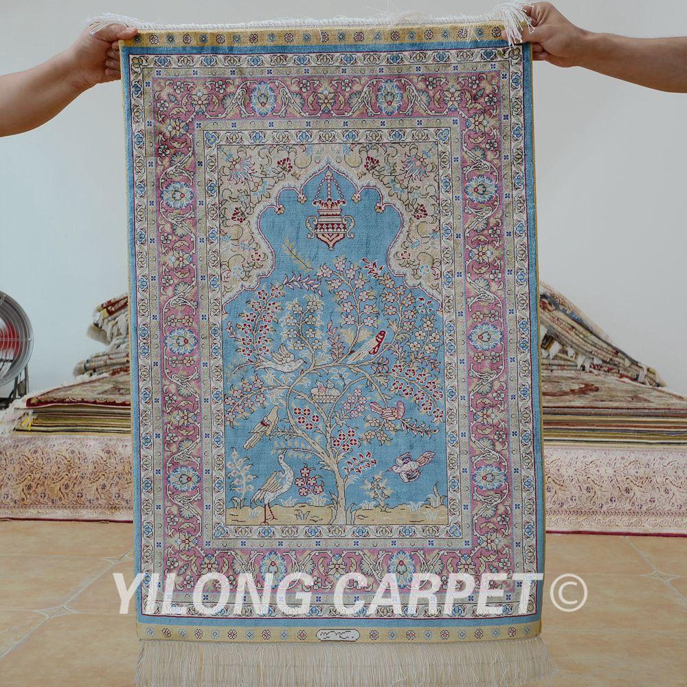 Yilong 2 X3 Oriental Silk Carpet Tree Of Life Handmade Exquisite Small Rug