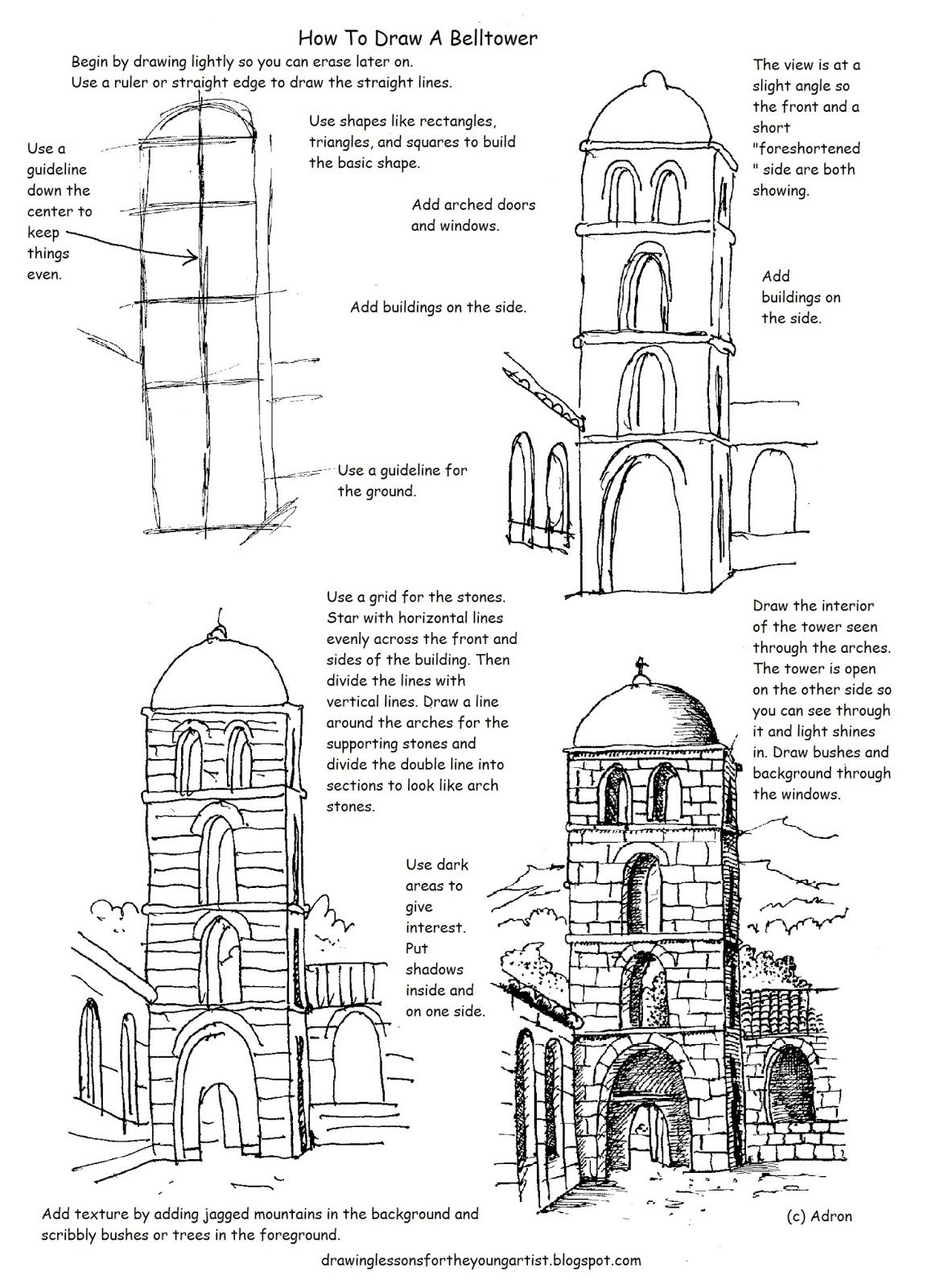 this free printable how to draw worksheet is helpful to draw a tower in a courtyard
