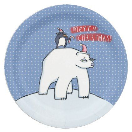 Polar Bear Christmas blue Paper Plates - paper gifts presents gift idea customize  sc 1 st  Pinterest & Polar Bear Christmas blue Paper Plates - paper gifts presents gift ...