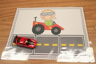 Race Car Segmenting, Use Hotwheels cars with these work mats to segment sounds! We roll the car slow as we say the sounds, then fast as we put them together and say the whole word. Downloadable Race Car Segmenting.
