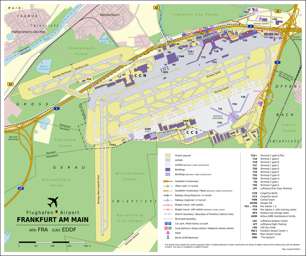 Frankfurt-Main Airport Map EN - Frankfurt Airport - Wikipedia, the ...