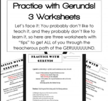 Grammar Verbals Worksheets: GERUNDS   TeachersPayTeachers ...