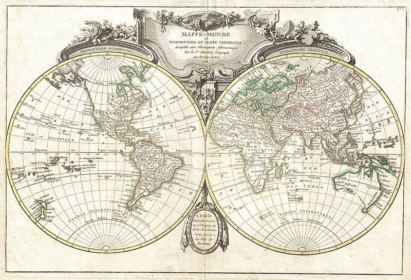 File1775 Lattre and Janvier Map of the World on a Hemisphere - new google world map printable