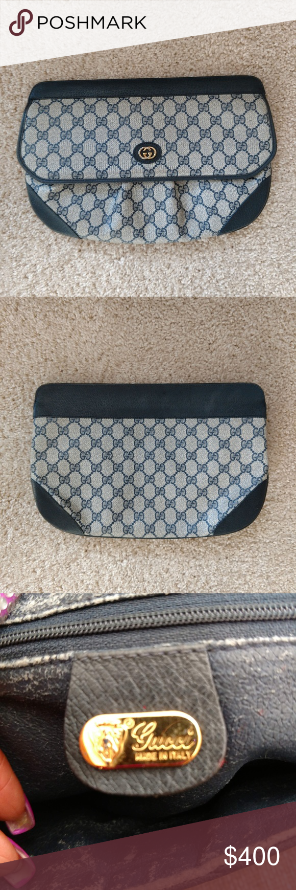 9e764711e98e Blue Vintage Gucci Clutch Handbag Authentic vintage Gucci clutch handbag in great  condition! Blue genuine