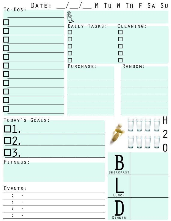 Pin by Carly Ganter on Planner Inserts To Print Pinterest - Daily Task Calendar Template