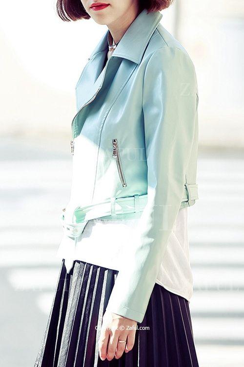 Blue PU Leather Lapel Neck Jacket