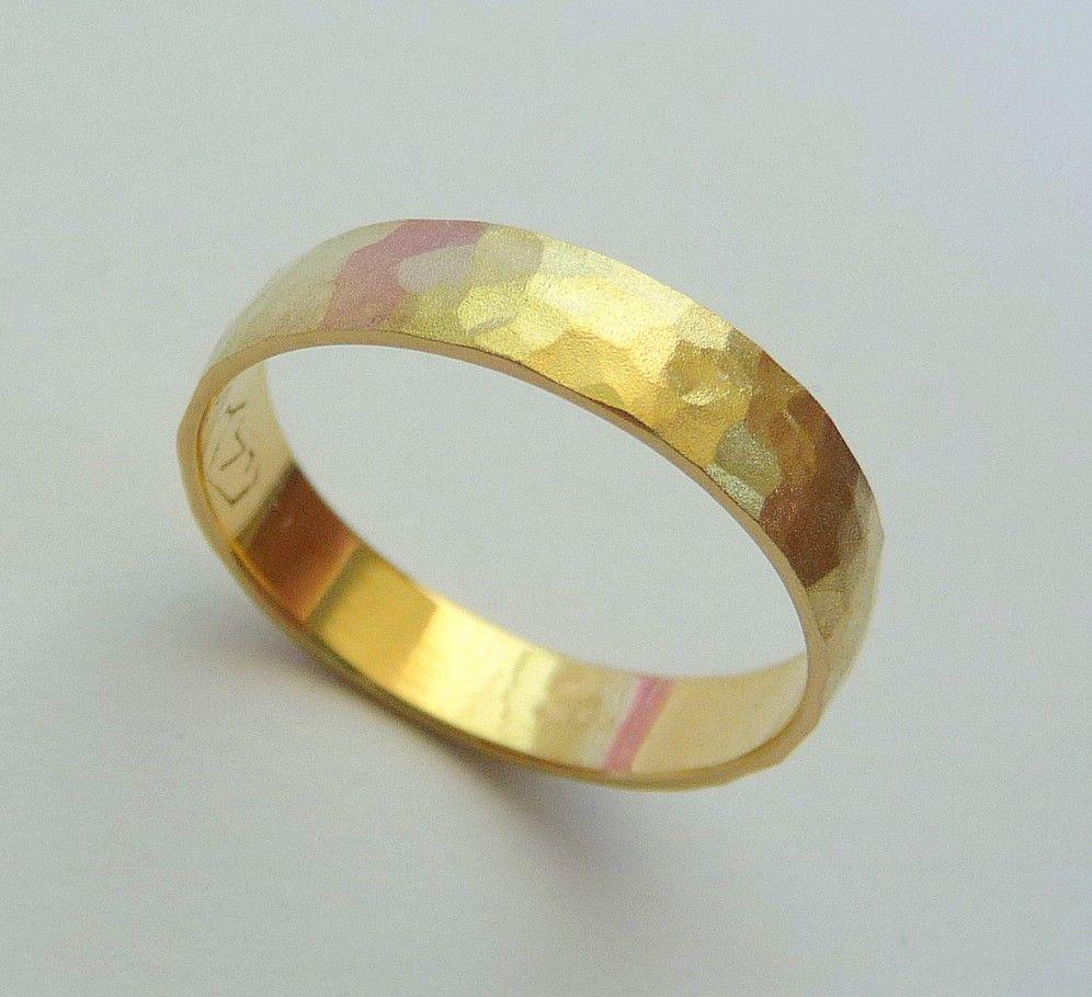 Gold Wedding Band Men Women Ring 14k Hammered 4mm Sandblast Finish Nature 25000