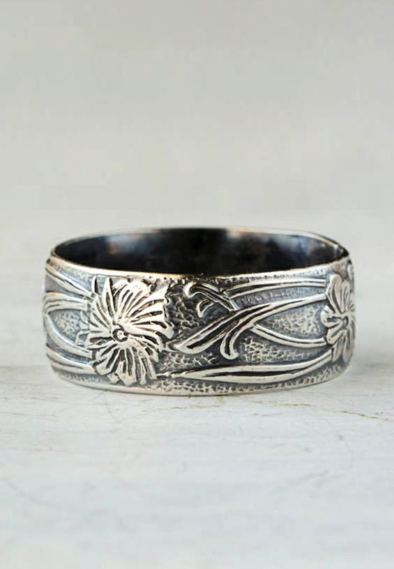 Art Deco Vine Sterling Silver Band