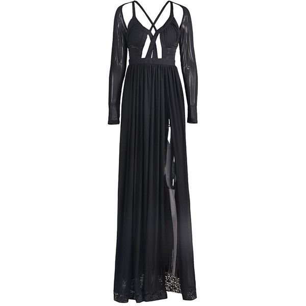 Sexy Slit Black Evening Gown (135 BAM) ❤ liked on Polyvore featuring dresses, gowns, maxi gowns, mesh maxi dress, evening cocktail dresses, holiday dresses and evening ball gowns