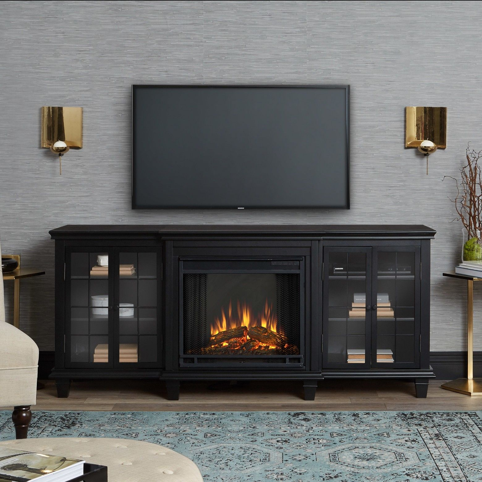 Woodstove or Media Console Combo? | Pinterest | Electric fireplace entertainme…
