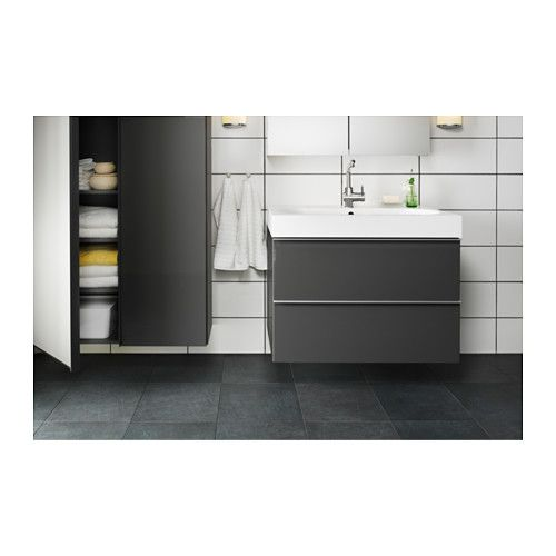 waschbeckenschrank 2 schubl godmorgon br viken grau hochglanz grau bad pinterest. Black Bedroom Furniture Sets. Home Design Ideas