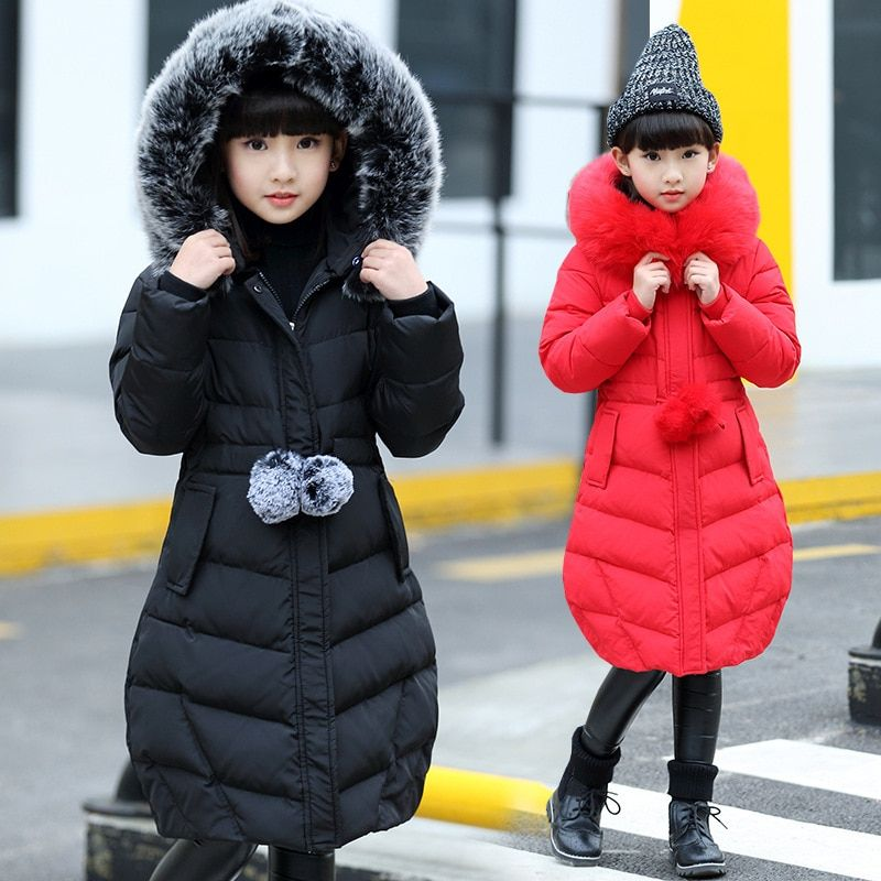d1ea20f5e 2018 Winter Down Jacket For Girls Thick Long Warm Hooded Girls ...