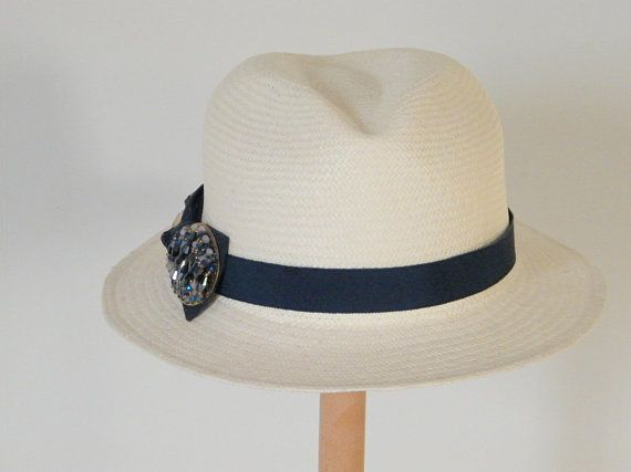 69836608a9422d ivory Fedora hat for women, authentic Panama hat, straw Fedora, elegant  Fedora hat for women, eleg