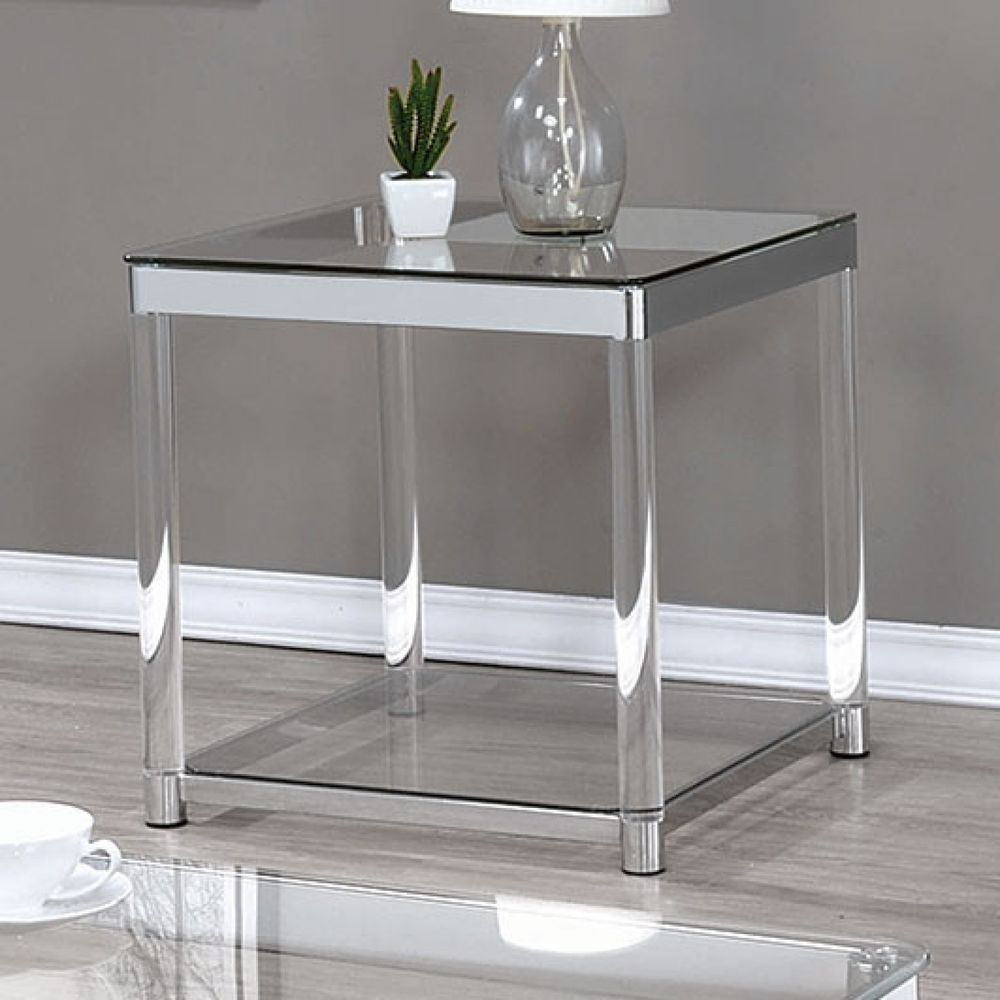The sleek glass top end table adds elegance to any living ...