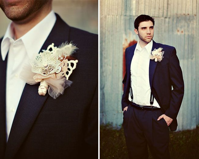 Vintage Inspired Love Story | White tuxedo, Boutonnieres and Wedding