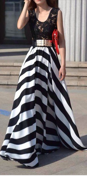 striped skirt lace bodice maxi dress