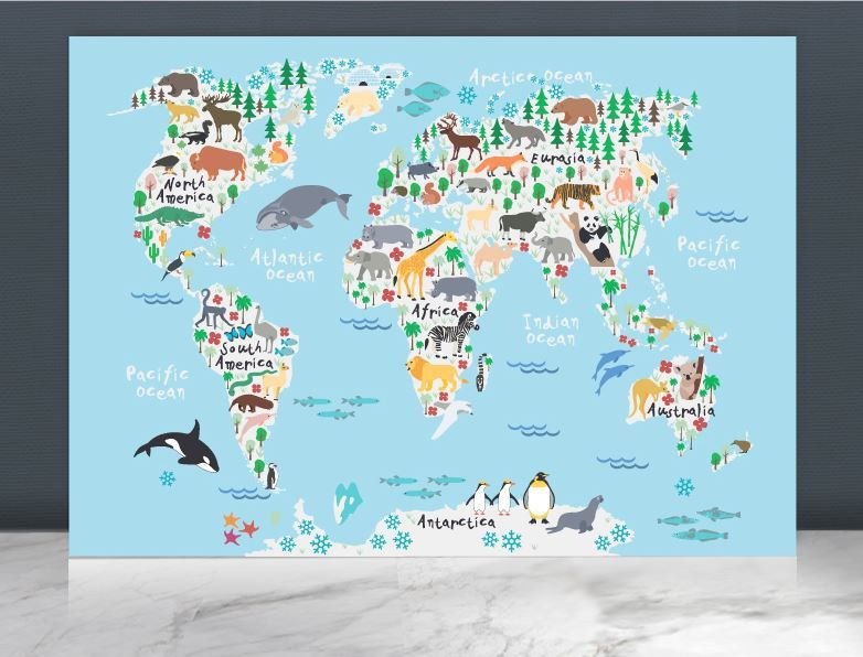 Animal world map printworld map posterworld map paintingkids animal world map printworld map posterworld gumiabroncs Gallery