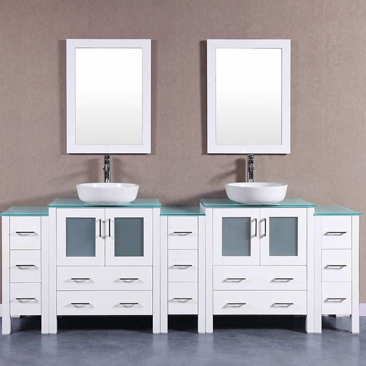 Bosconi Aw230bwlcwg3s 96 Double Bathroom Vanity Set With Tempered