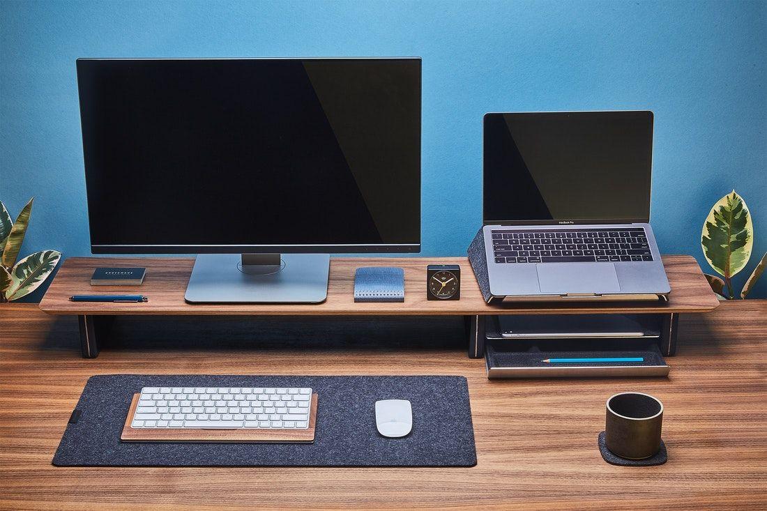 Excellent Walnut Desk Shelf For Single Or Dual Monitor Desk Setups Download Free Architecture Designs Momecebritishbridgeorg