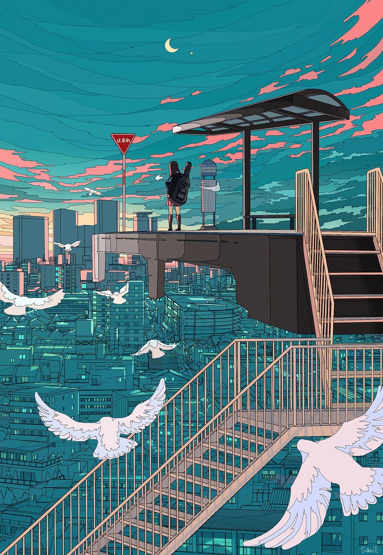 Safebooru 1girl animal bird blue sky building city
