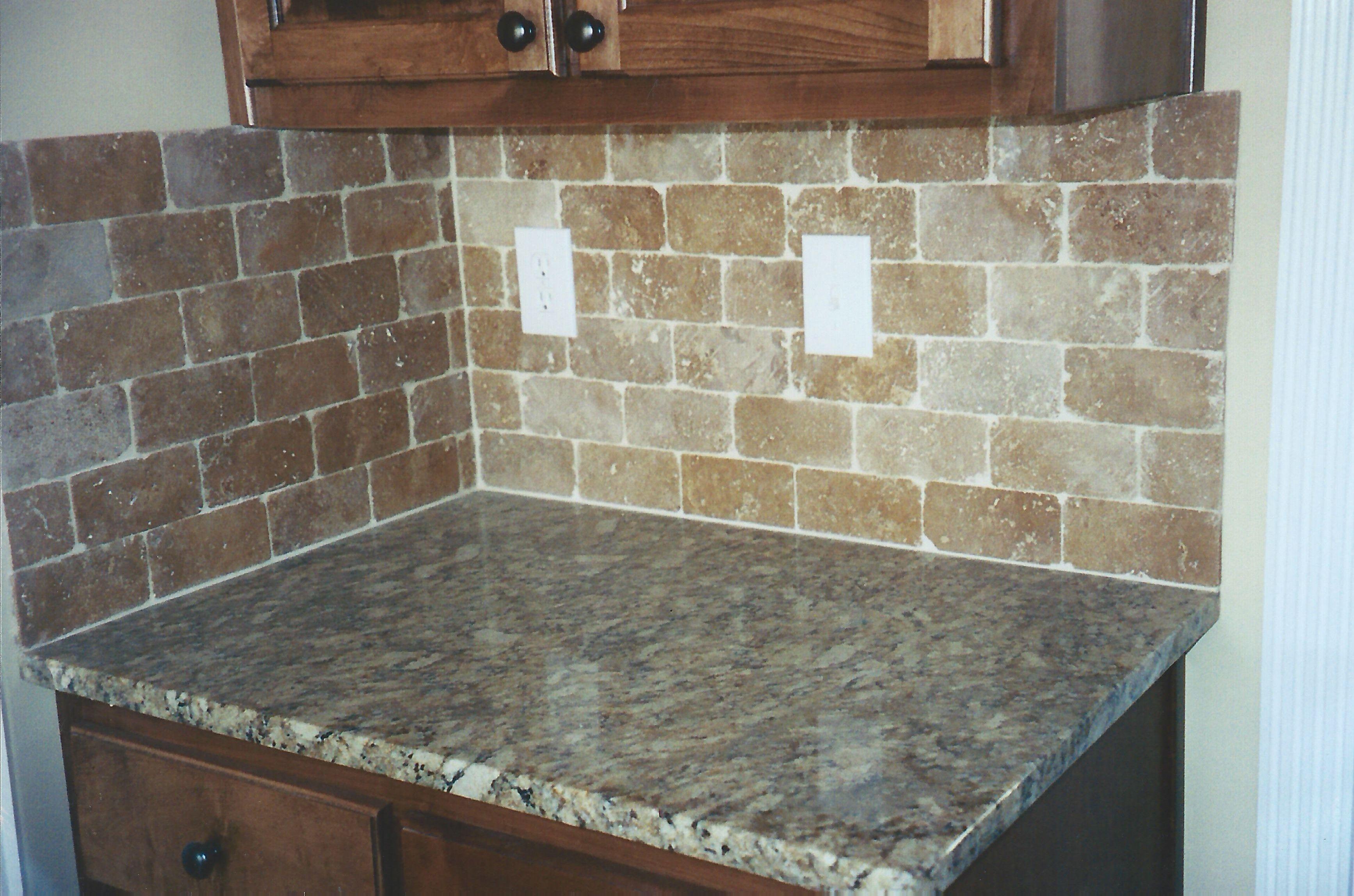 - 3x6 Noce Subway Tumbled Marble Kitchen Backsplash, Kitchen